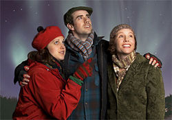 Allison Tolman, Lee Trull and Kristen McCollum drift into romantic situations in WaterTower's snowy comedy Almost, Maine.