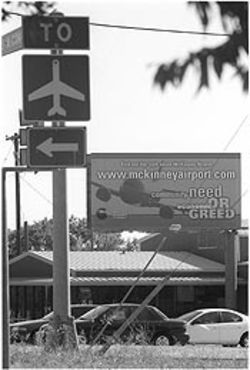 The town of Fairview is bankrolling a Web site and billboards opposing expansion of McKinney's airport.