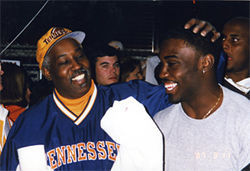 Good times: At the University of Tennessee, Goodrich was named MVP in the Volunteers' 1999 National Championship Game victory over Florida State. His proud father, Walter Goodrich, attended the post-game celebration.