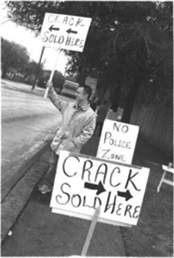 Peter Fleet protests the crime afflicting his Oak Lawn neighborhood.