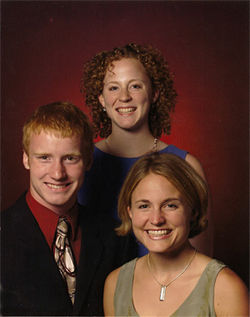 Katherine Olson is pictured (top right) with her sister Sarah Richter and her brother Karl, both of whom are trying to draw public attention to their sister's death.