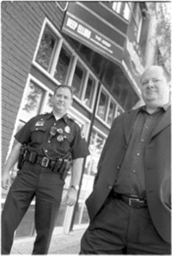 Deep Ellum Association Executive Director Sean Wisdom, right, and DPD's Lieutenant Vincent Golbeck work together to make sure the streets of Deep Ellum are Safe and Sound.