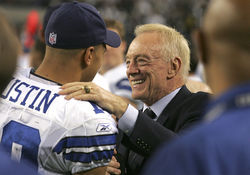 After the Cowboys trounced the Eagles, owner Jerry Jones congratulated wide receiver Miles Austin for helping exorcise the demons of 13 years  without a playoff victory.
