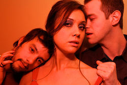 Drew Wall, Natalie Young and Alex Organ in Second Thought's Red Light Winter.