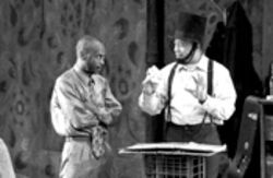 K. Todd Freeman as Booth and David Rainey as Lincoln in Suzan-Lori Parks' Pulitzer Prize-winning play Topdog/Underdog.