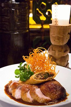 Don Ho may be dead, but his legend lives on in Trader Vic's barbecue roasted duck breast and crispy duck confit spring roll with tart cherry-ginger sauce.