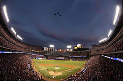 Military jets fly over Rangers Ballpark in Arlington before the team suffers a season-ending defeat by the San Francisco Giants in Game 5 of the World Series.