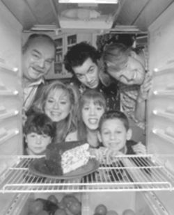 Fresh from the oven: Grounded for Life stars, clockwise from top left, Richard Riehle, Kevin Corrigan, Donal Logue, Griffin Frazen, Lynsey Bartilson, Megyn Price, and Jake Burbage.