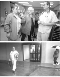 Top: Dr. John Mullen with ER nurses Kris Herd  (left) and Peggy Helbert (center). Below: Mullen leaves the hospital with his sheriff's deputy uniform, ready to fight crime in Mount Vernon.