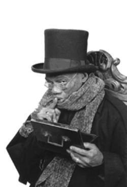 Reggie Montgomery plays Scrooge as class clown.