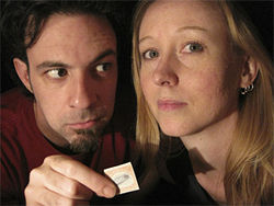 A harrowing suspense built around postage stamps? Why not? Dennis (David Meglino) conspires to con Jackie (Leslie Patrick) out of two rare stamps in Echo Theatre's production of Mauritius.