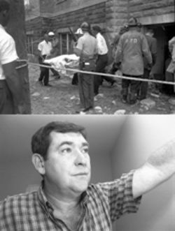 "In September 1963, four young girls attending services at the Sixteenth Street Baptist Church were murdered when an explosion ripped through the church. Above, firemen and ambulance workers tend to the dead and examine the aftermath. Below, Tom Cherry, the son of Bobby Frank Cherry, has a standard answer to those who ask if his father really lit the dynamite that day: ""I wasn't there."""