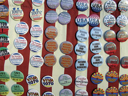 A display of buttons for sale at the June 5 pro-SB 1070 rally.