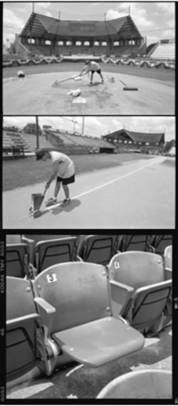 Top, a groundskeeper readies Mike Carter Field before a game. After he ran out of chalk, center, he used HyTop flour to finish marking the diamond. New old seats, bottom, from now-demolished Arlington Stadium have been installed.