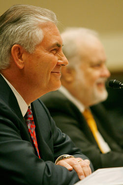 ExxonMobil CEO Rex Tillerson (left) and XTO founder Bob Simpson testify before Congress about the controversial drilling process called &quot;fracking.&quot;