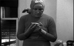 """Little Edie"" Bouvier Beale in a ""revolutionary costume of the day,"" from the documentary film Grey Gardens."
