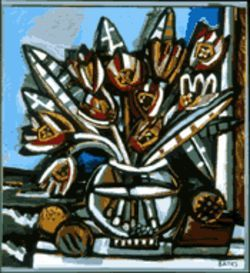 &quot;Tulips&quot; (2000), one of David Bates&#039; new wood constructions mounted on canvas