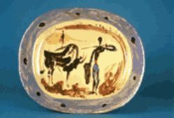 &quot;Plat long (scene tauromachique)&quot; is one of the Picasso ceramics now on view at Pillsbury and Peters Fine Art.