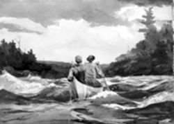 "Winslow Homer's 1897 watercolor, ""Canoe in the Rapids,"" on loan from the Harvard University Art Museums (Fogg Art Museum)"