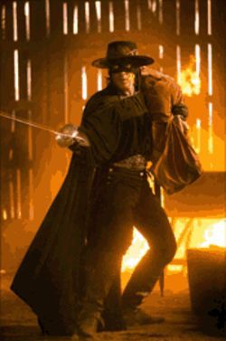 We liked him better as a sword-swinging kitty in Shrek 2. Antonio Banderas is Zorro once again.