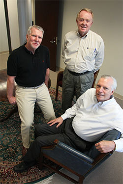 Shelton Stogner (left) and Dr. Paul Pottinger (right), local founders of AIM, garnered financial support from equity investor Bruce Leadbetter (center), who has funded the first three pilot programs.
