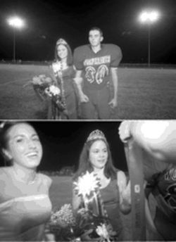 Natalie Matula, escorted by Wolverine player Allen Dudik, is crowned homecoming queen at halftime.