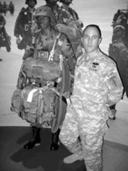 Haberman claimed he had designed a special mask for paratroopers. Here, he poses next to a mannequin at the Special Operations Museum in Fayetteville, N.C.