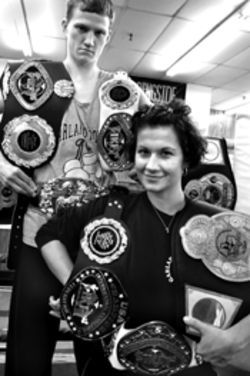 Kornelija Numic and Doyle Gayler each hold five kickboxing belts.