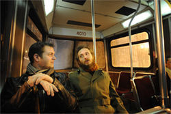 Air Force deserter Dale Landry (left) and Army deserter Ryan Johnson ride the streetcar in Toronto.
