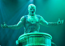 Mean green singing machine: Constantine Maroulis as the Toxic Avenger at Houston's Alley Theatre.