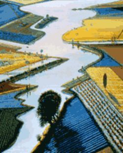 """River and Farms"" (1996) typifies Thiebaud's most recent work."