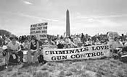 In front of the Washington Monument, the Second Amendment Sisters staged a counter-demonstration to the Million Mom March.