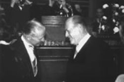Borlaug is congratulated by Norway's King Olaf after receiving the Nobel Peace Prize in 1970.