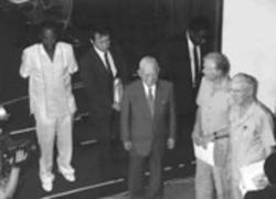 Borlaug with Jimmy Carter in Accra, Ghana, in 1988. Both oversee Sasakawa Global 2000, an African agricultural program.