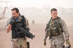 Jason Isaacs and Matt Damon on a dangerous snipe hunt in Iraq.