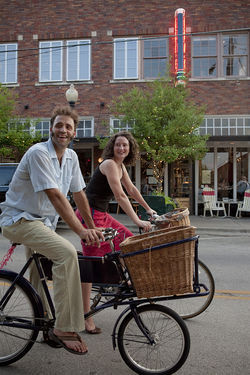 "Zac and Heather Lytle demonstrate what fellow biko Jason Roberts calls ""slow biking"" —cruising through the Bishop Arts District, no spandex required."