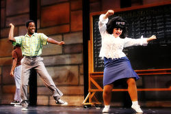 Donell Foreman as Seaweed J. Stubbs and Jennifer Foster as Tracy Turnblad in Casa Manana's hopped-up Hairspray.