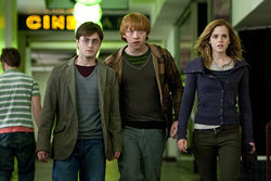 Harry, Ron and Hermione, band on the run.