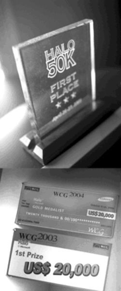 Above: a plaque from one of the many tournaments Leto has won. Below: $40,000 from World Cyber Games, just for playing Halo.