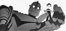 A boy and his robot: Hogarth and The Iron Giant go hand in hand.