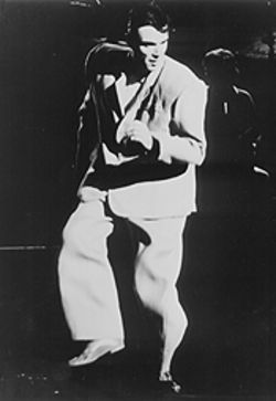 The big suit, that small head: This is the publicity photo sent out for the reissue of Stop Making Sense. Who says it was David Byrne's movie?