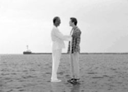 Like you even need divine power to walk on Lake Erie. Morgan Freeman and Jim Carrey in Bruce Almighty.