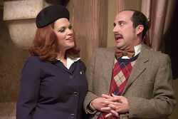 "Uniformly funny: Sherry Hopkins is a 1960s TWA ""air hostess"" and Andy Baldwin is her first-class comic foil in Boeing-Boeing."