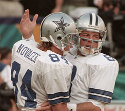 As Dallas Cowboys teammates, Troy Aikman (right) and Jay Novacek were close friends. Novacek lost his wife, LeAnne, to suicide last week.