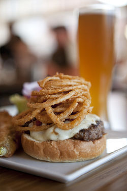 Smoky Jack Burger: smoked mozzarella, monterrey jack, crispy apple-smoked bacon and fried onion strings