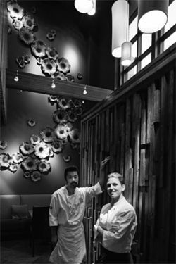 Elvis is everywhere: Shinsei's sushi chef Shuji Sugawara, left, and executive chef Casey Thompson.