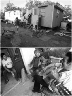 Cameron Park is full of music and playing children. At top, the Castillo and Macias children head outside to play, ignoring the South Texas heat. Above, Roberto Reyes, left, listens to a front-porch jam by his friends.