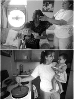 At top, Patricia Castillo brushes the hair of her daughter, Lissette, 10, while Lissette holds her 9-month-old sister, Andre. Notice the window fan; many homes lack air conditioning. Above, Castillo expertly mixes bean-mashing and child-rearing.