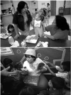 Community service initiatives have greatly improved the quality of life in Cameron Park. At top, Gloria Moreno, standing, talks with Maria Socorro Mendoza as her kids eat during the free lunch program at the local community center. Above, Lora Lee Marquez reads to the kids in the Head Start program, which helps prepare low-income children for school.