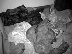 Today, there are still bags of cement and blood-stained clothing scattered throughout the house.
